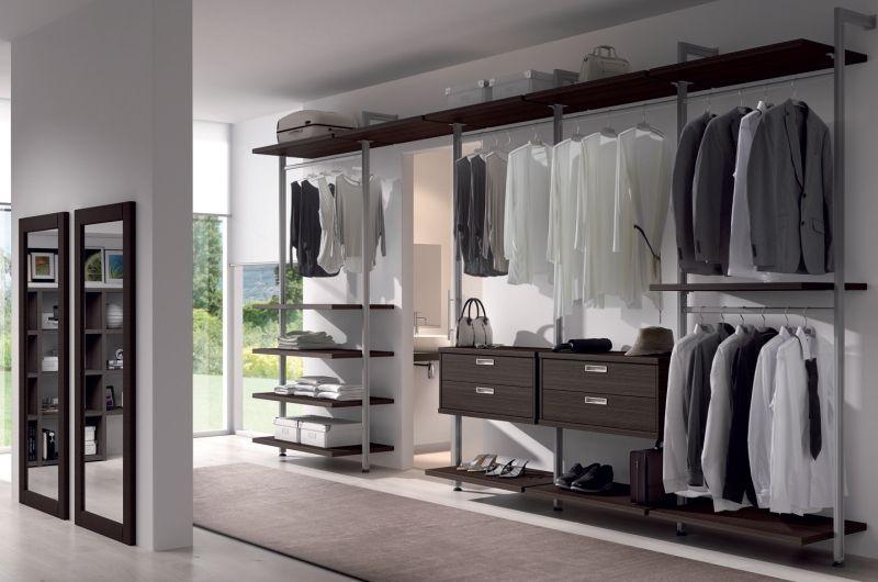 elegante armario vestidor en guinea con bastidores de aluminio