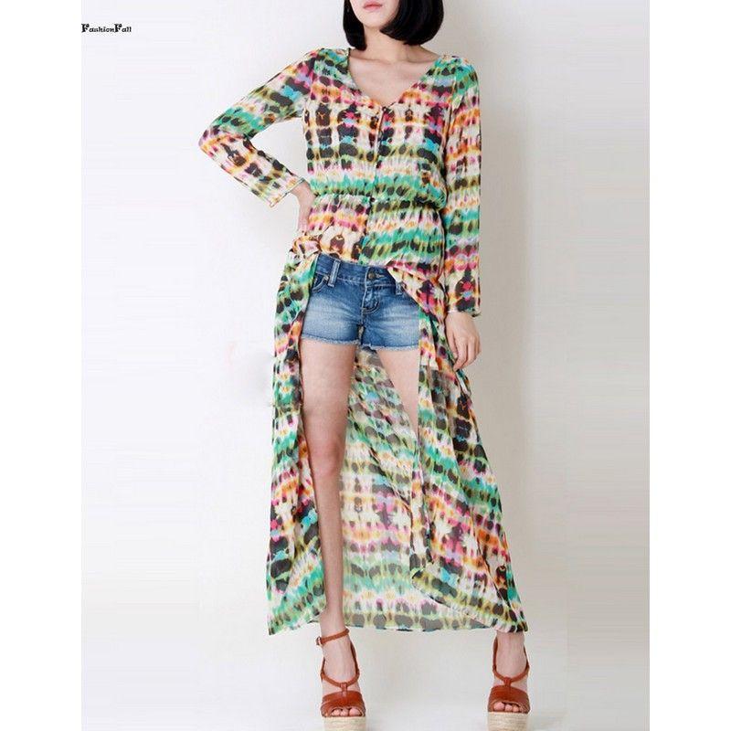 Boho Tie Dye Floral Printing Dress 2016 Women V-neck Long Sleeve ...