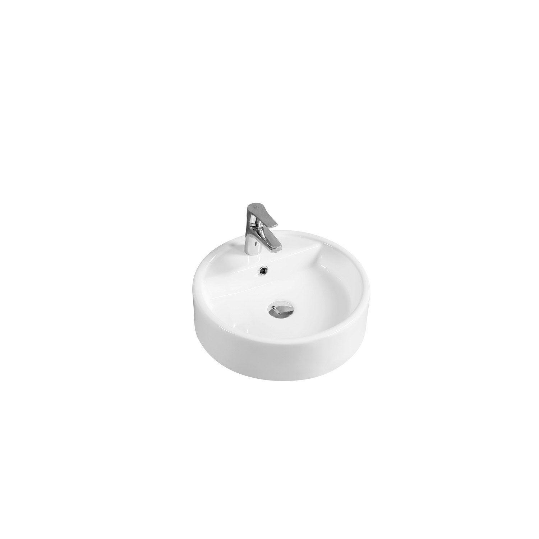 Vasque A Poser Ceramique L 44 X P 44 Cm Diam 44 Cm Blanc Salsa Vasque A Poser Vasque Ceramique