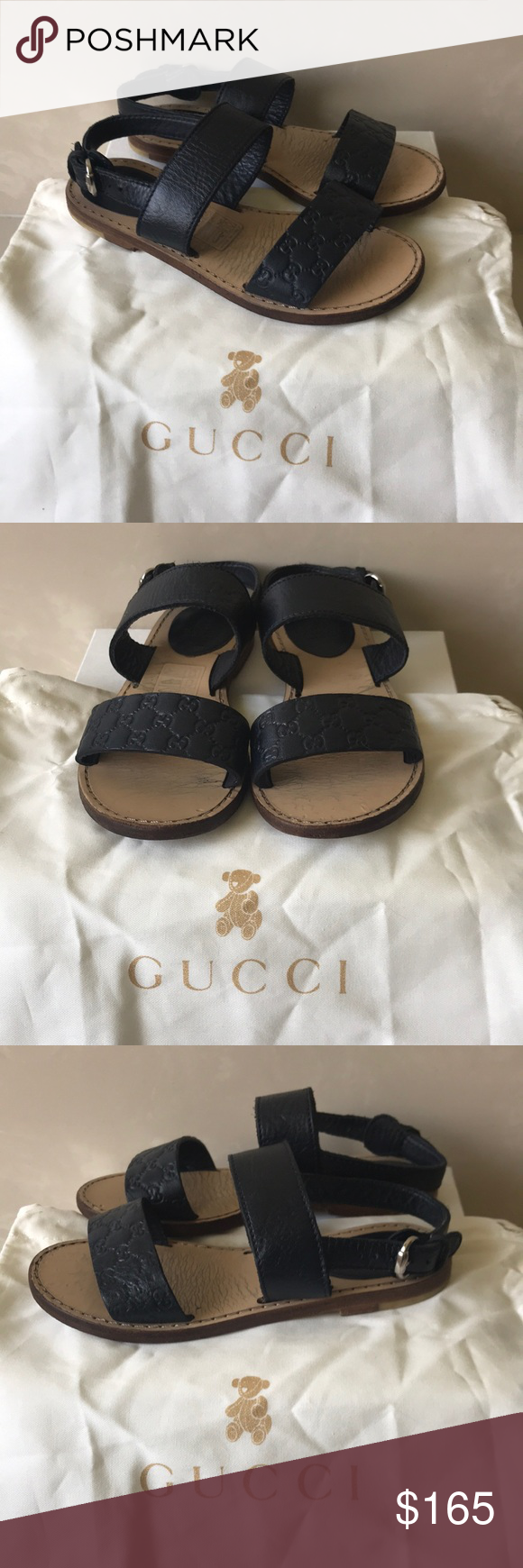 18cfa4644 Authentic Gucci GG Navy leather baby sandals 8.5 Authentic Gucci GG Navy  leather baby sandals Sz 8.5 Euro 26 good condition light wear scuffs some  marks on ...