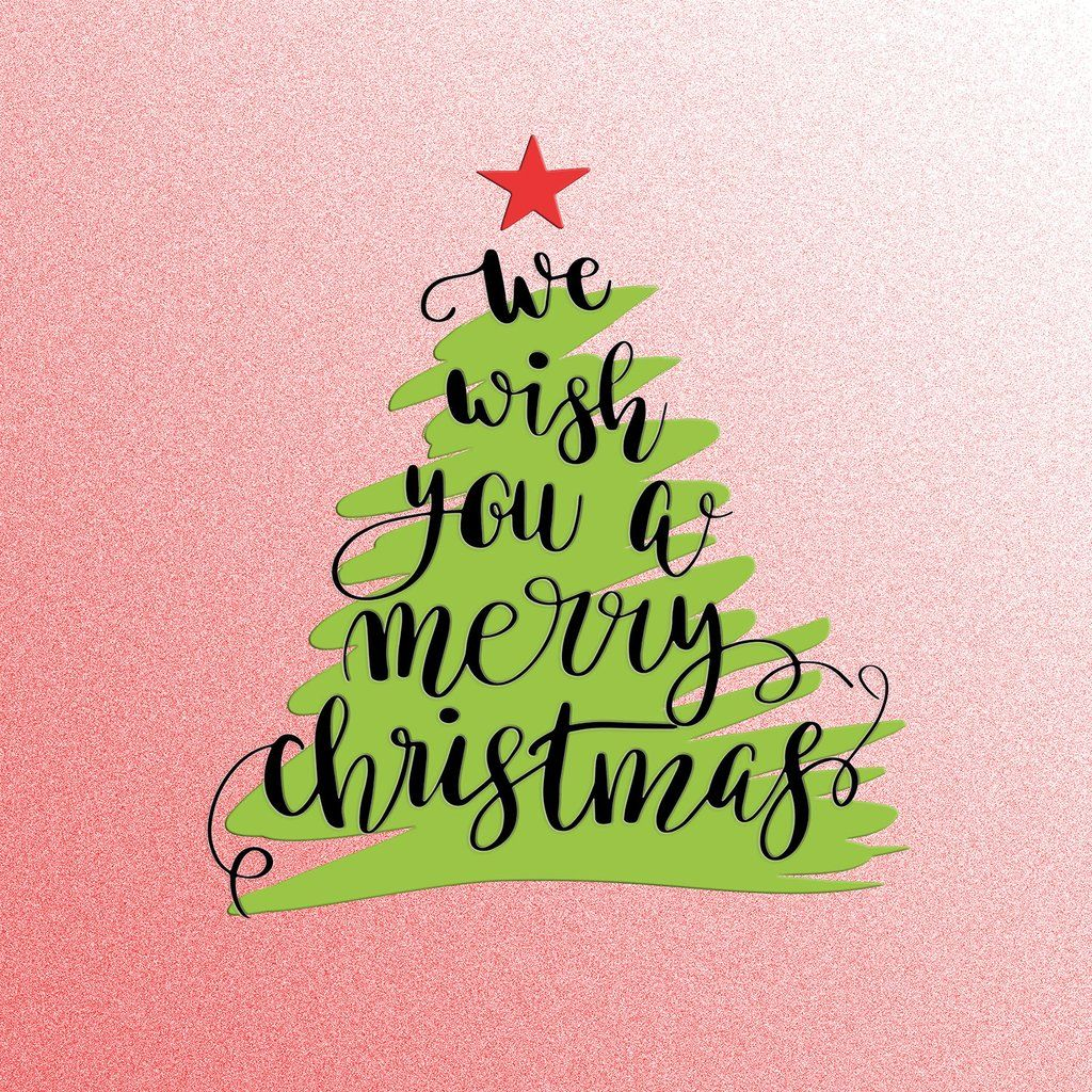 Christmas Tree Quotes: We Wish You A Merry Christmas, Tree Hand Lettering Vinyl