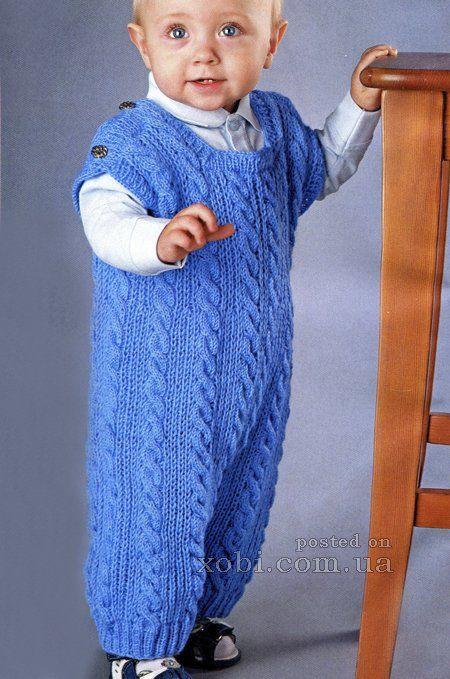 детский голубой комбинезон с косами вязаный спицами с описанием