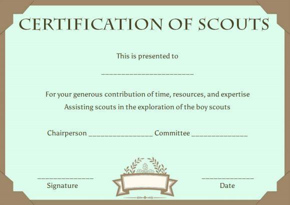 Cub Scout Adventure Pocket Certificate Template Scout Certificate
