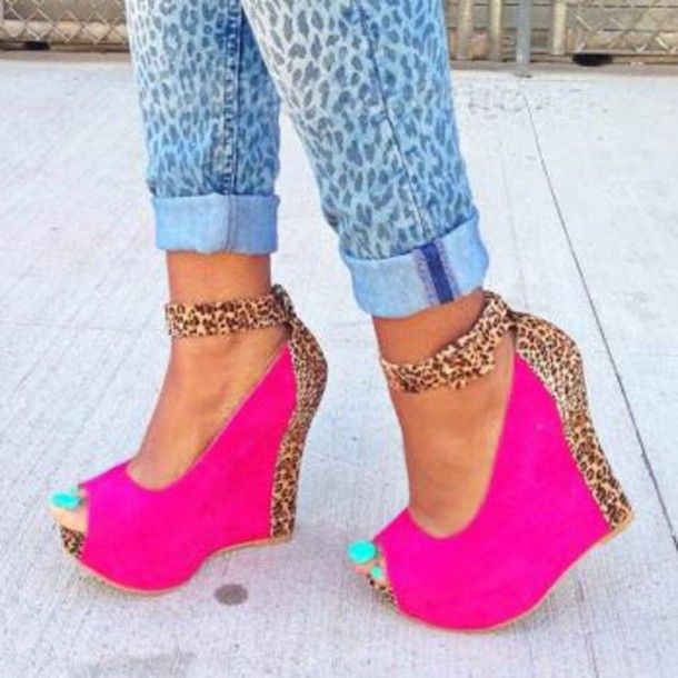 Pink ankle strap wedges