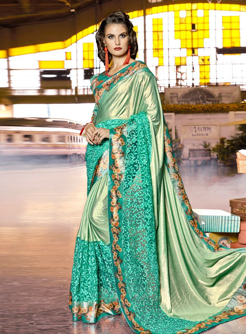 Buy Sea Green Lycra Party Wear Saree 142402 with blouse