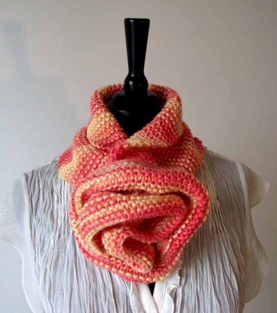 KNITTING PATTERN COWL scarf - Rose Cowl Pattern Instant Download ...