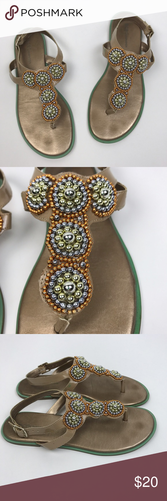 [BCBGeneration] Laceyy Beaded Embellished Sandals Flat Thong sandals with adjustable buckle ankle strap. Patent finish. Colorful beading and embellishment on top. Nude and mint green color combo.   🔹Condition: Good pre-owned condition. Imprints on footbed. Scuff on inner left shoe. BCBGeneration Shoes Sandals