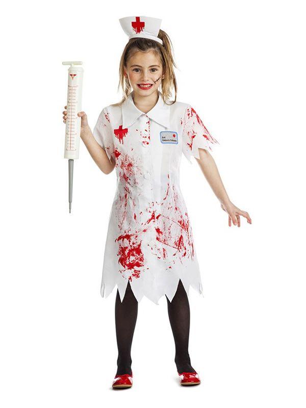 1168e33a8 El disfraz de enfermera zombie para niña, incluye vestido y diadema ...