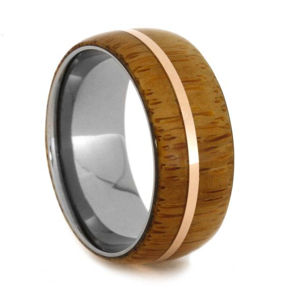 Men Or Womens Bamboo Ring Titanium Wedding Band With Bamboo And A 14k Rose Gold Pinstripe Ennga Wooden Wedding Bands Wood Wedding Band Titanium Wedding Band