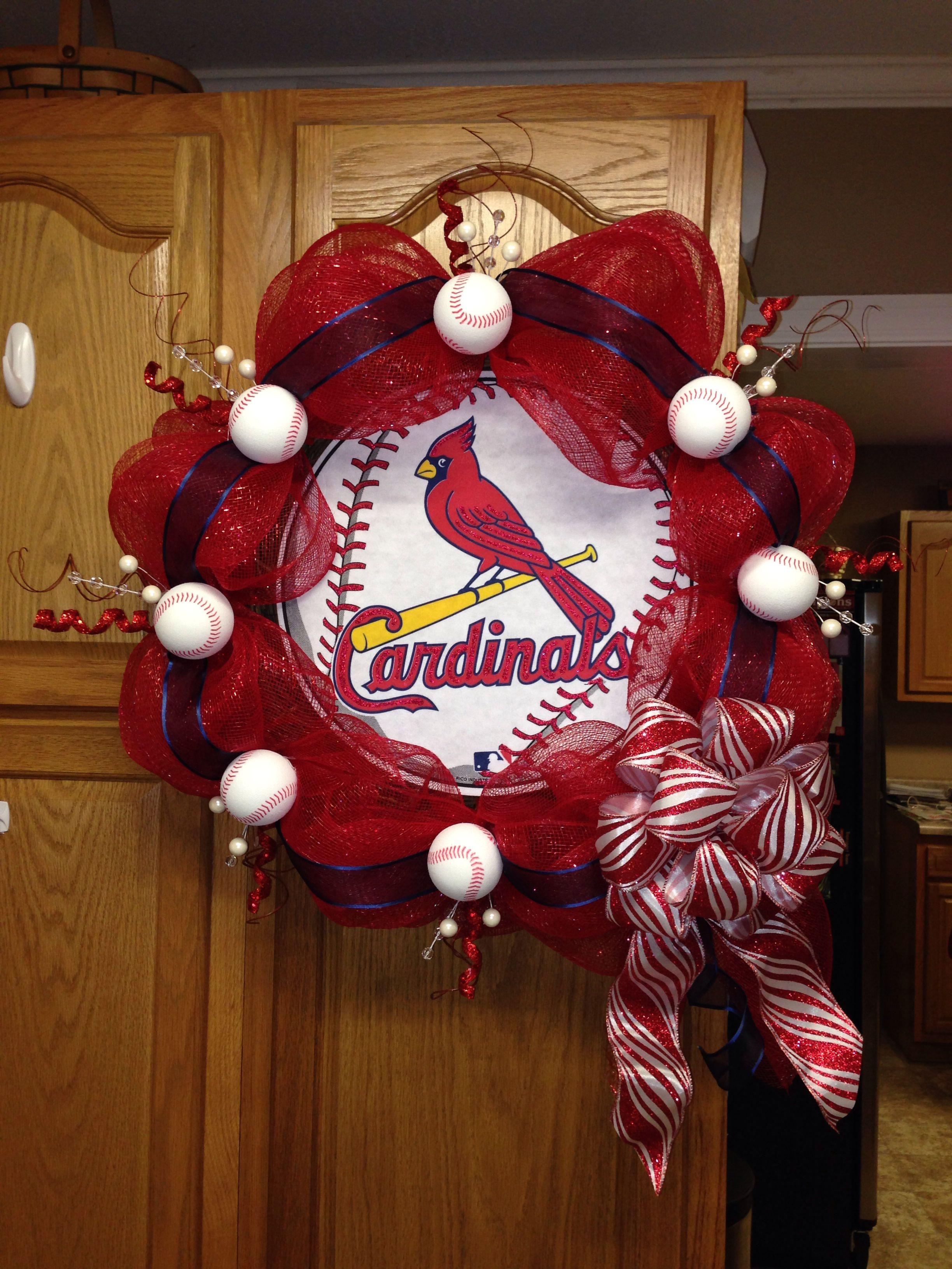 Deco Mesh St Louis Cardinals Wreath October 2013 Baseball