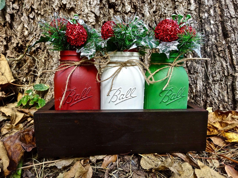 Handmade Christmas Themed Planter Box With 3 Quart Sized Painted Mason Jars Table Centerpieces Chris With Images Christmas Mason Jars Painted Mason Jars Handmade Planter