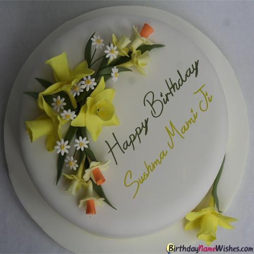 Sushma Mami Ji Birthday Cake Beautiful Birthday Cakes Cake Name