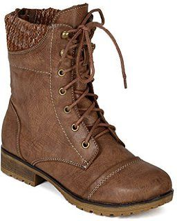 $28 Refresh BI33 Women Leatherette Sweater Trim Lace Up Mid Calf Combat Boot - Taupe