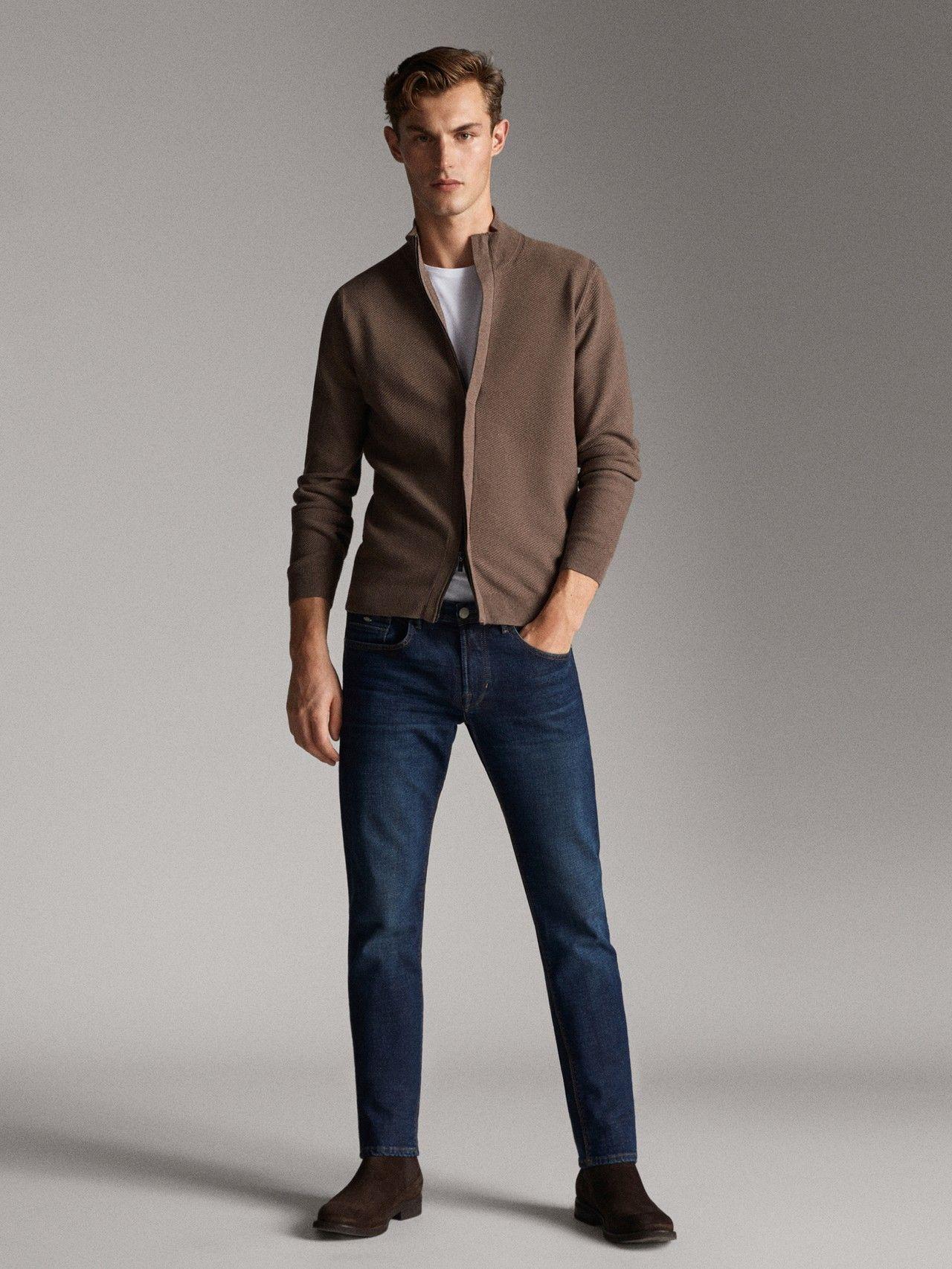 Massimo Dutti Men Zipped Cardigan Mink Xxl Smart Casual Men Mens Casual Outfits Mens Outfits