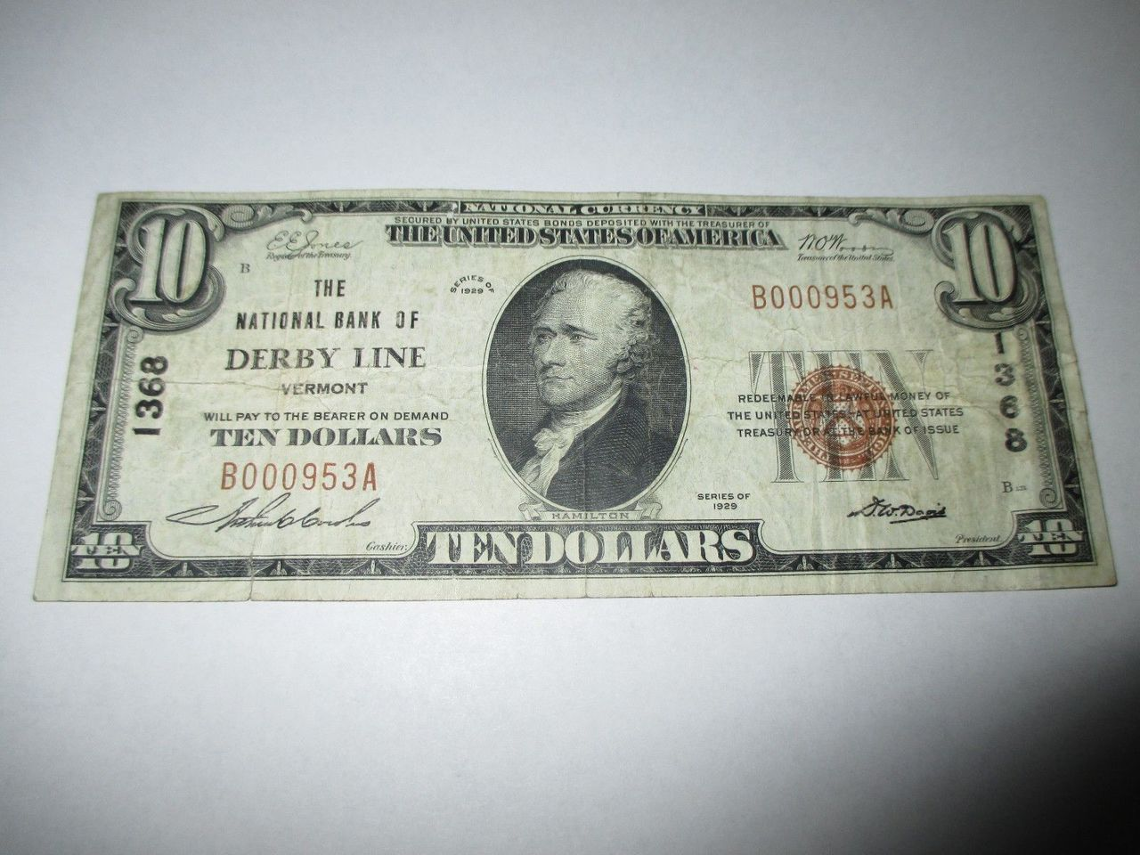 $10 1929 DERBY LINE VERMONT VT NATIONAL CURRENCY BANK NOTE BILL! CH. #1368 FINE