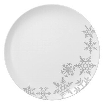 Holiday Plastic Plate-Silver Snowflakes Plate  sc 1 st  Pinterest & Holiday Plastic Plate-Silver Snowflakes Plate - Xmas ChristmasEve ...