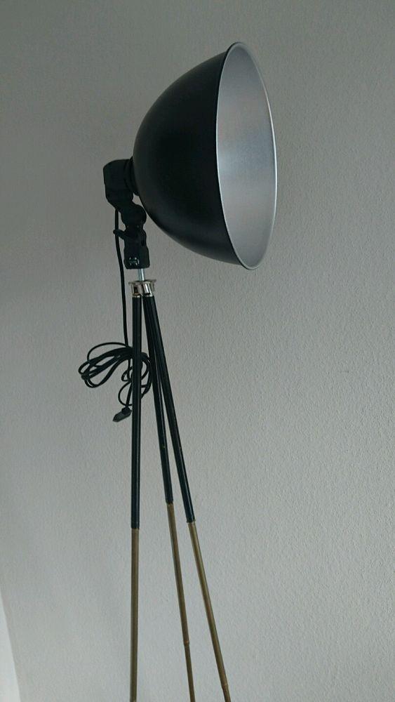 Retro Lampe Metall Loft lntustrie Bauhaus Stehlampe Dreibein ...