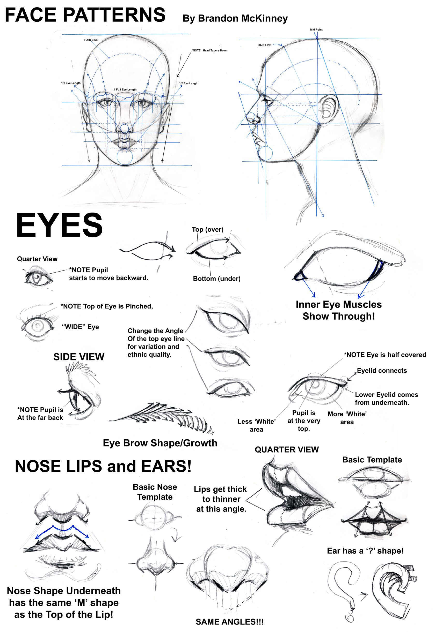 Notes On Drawing The Face Eyes Ears Mouth And Nose