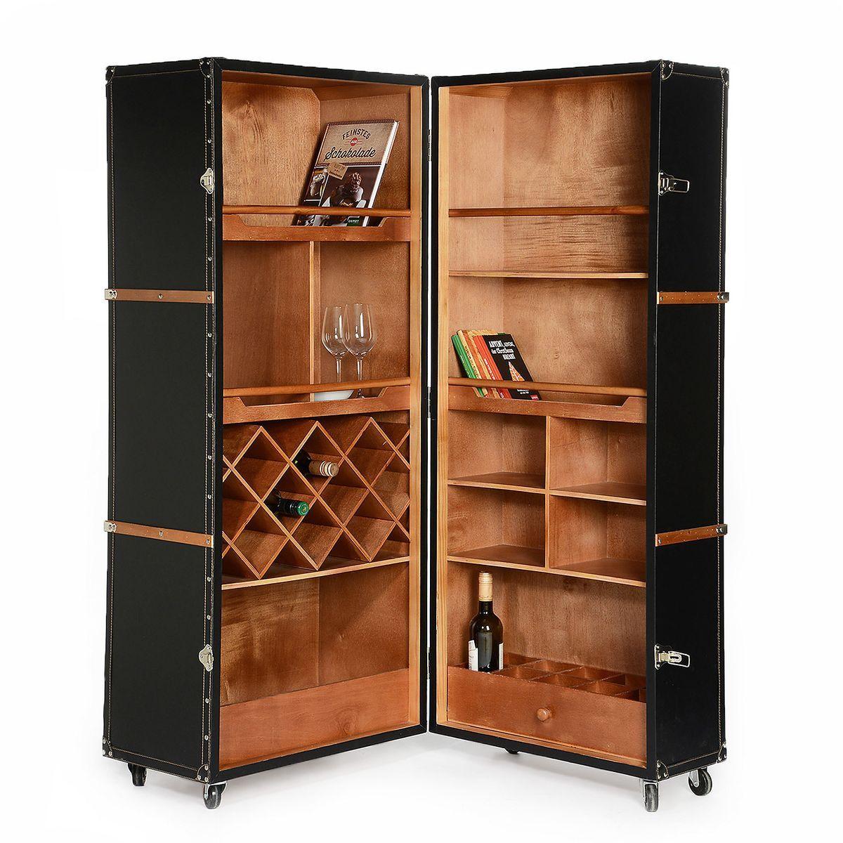schrank koffer tannenholz schwarz ca l 60 x b 60 x h 146 cm bez ge 100 kunstleder. Black Bedroom Furniture Sets. Home Design Ideas