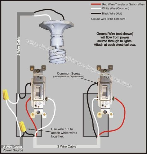 3 Way Switch Wiring Diagram | Diy electrical, 3 way switch wiring, Light switch  wiringPinterest