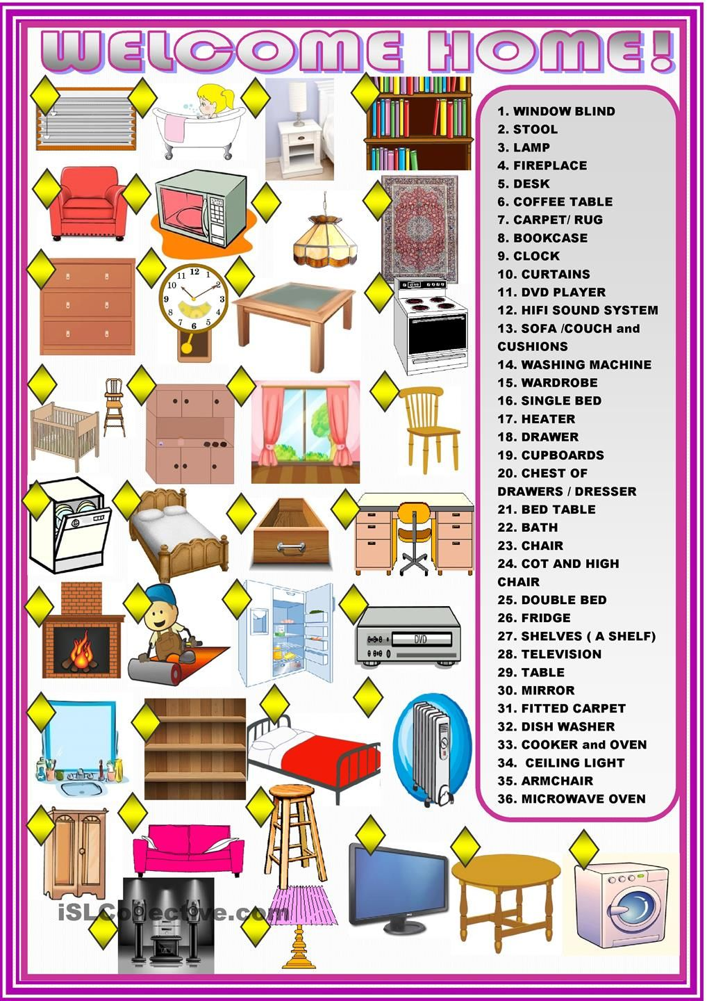 Welcome Home Furniture Matching Activity English Vocabulary  # Muebles En Ingles