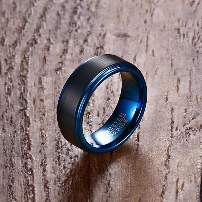 Men's Tungsten Carbide Ring Blue mens rings, Blue