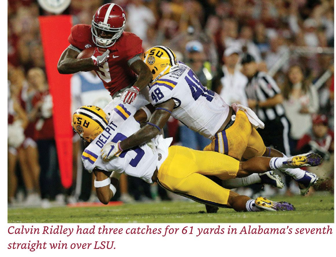 Calvin Ridley Vs Lsu Picture Credit From The Book Bama Dynasty The Crimson Tide Alabama Crimson Tide Alabama Crimson Tide Football Crimson Tide Football