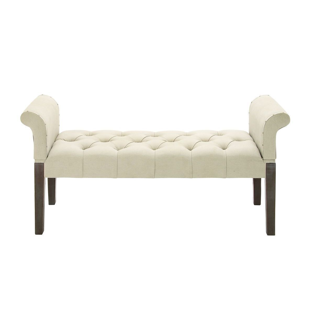 Traditional Wooden Cleopatra Beige Fabric Bench By Studio 350 Wd 53 W 26 H