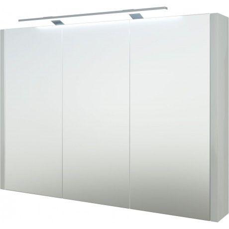 Albero Design Trento Spiegelschrank mit LED Aufsteckleuchte, weiß - badezimmer spiegelschrank led