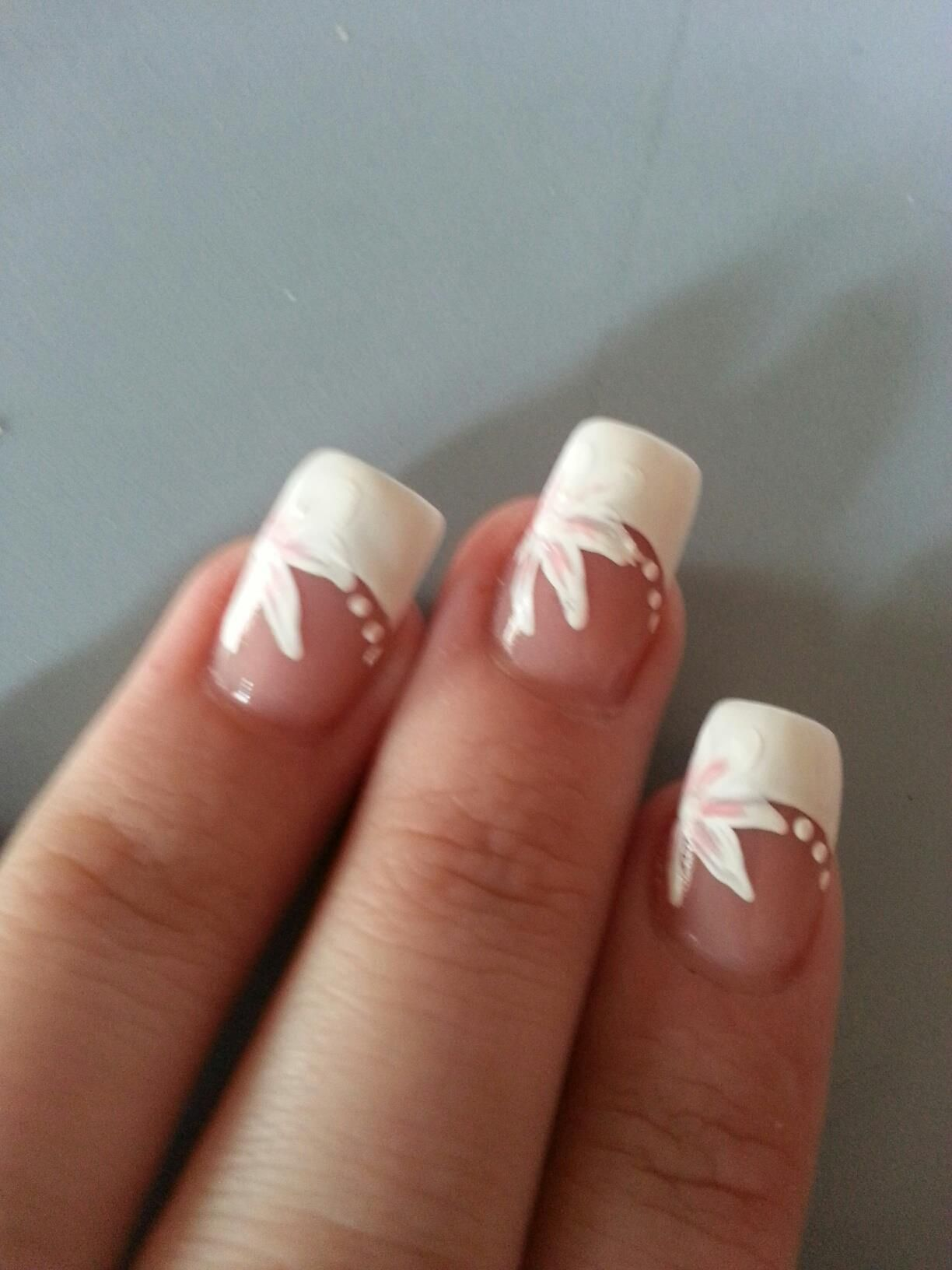 White and pink flower acrylic nail design | Nails | Pinterest ...