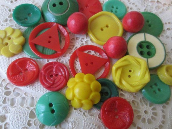 Vintage Buttons  Cottage chic mix of green yellow by pillowtalkswf, $8.95
