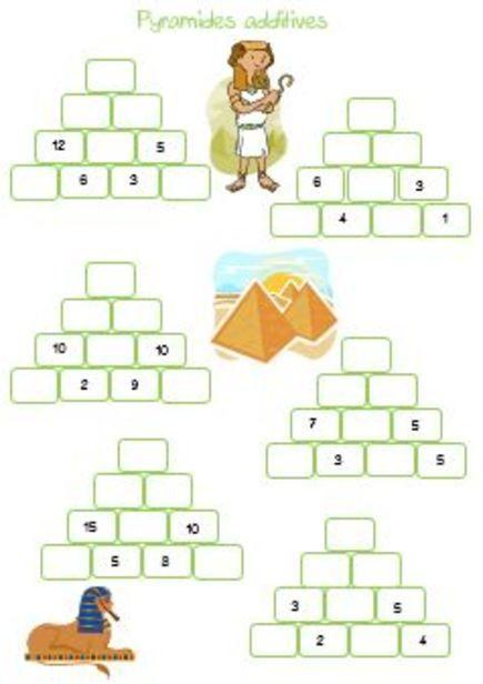 Pyramides additives | Exercice stimulation cognitive | Pinterest | École, Calcul et Maths ce2