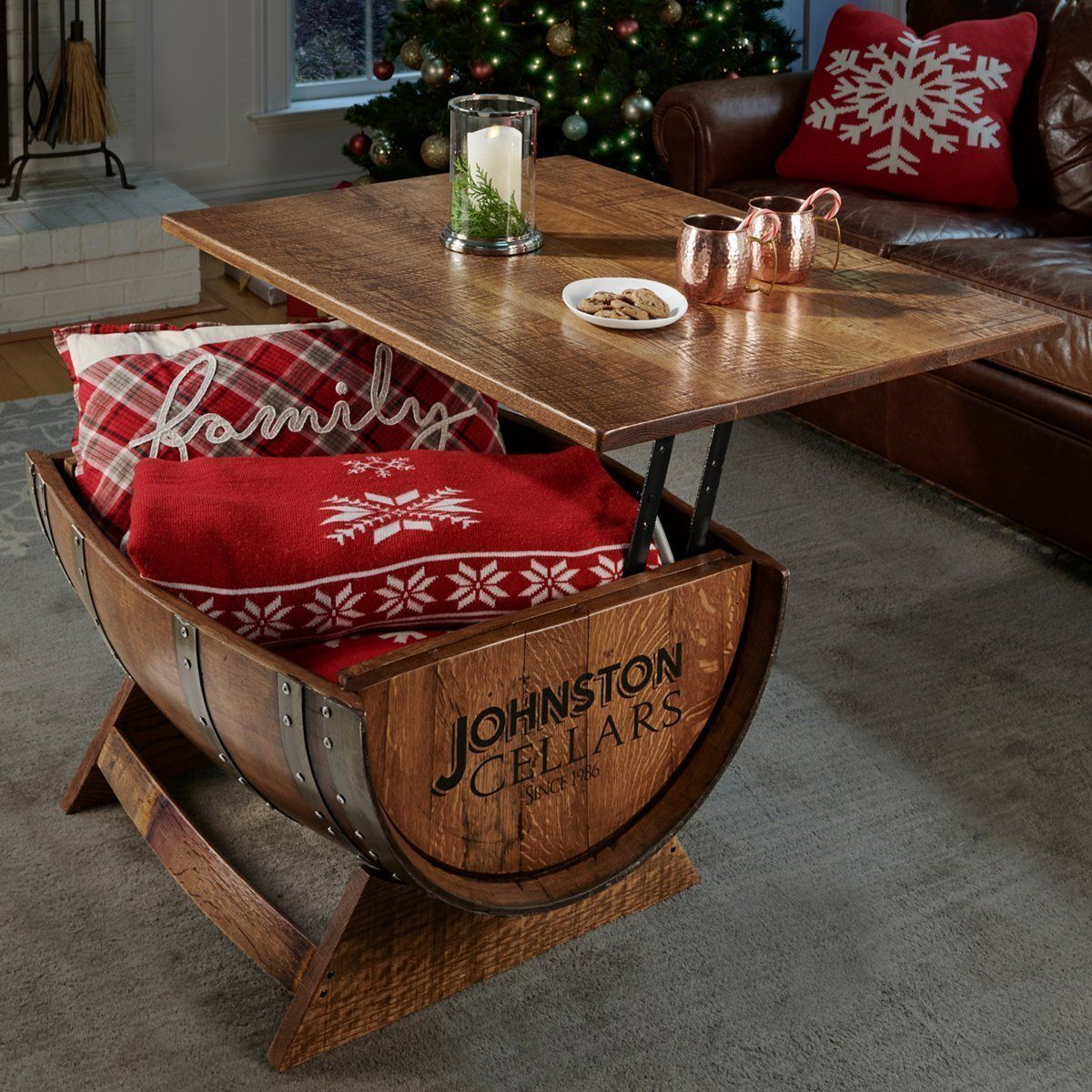 Personalized Reclaimed Wine Barrel Coffee Table With Unique Lift Top Chenlinwood In 2020 Wine Barrel Coffee Table Barrel Coffee Table Barrel Coffee