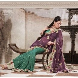 Green Violet Party Wear Saree.