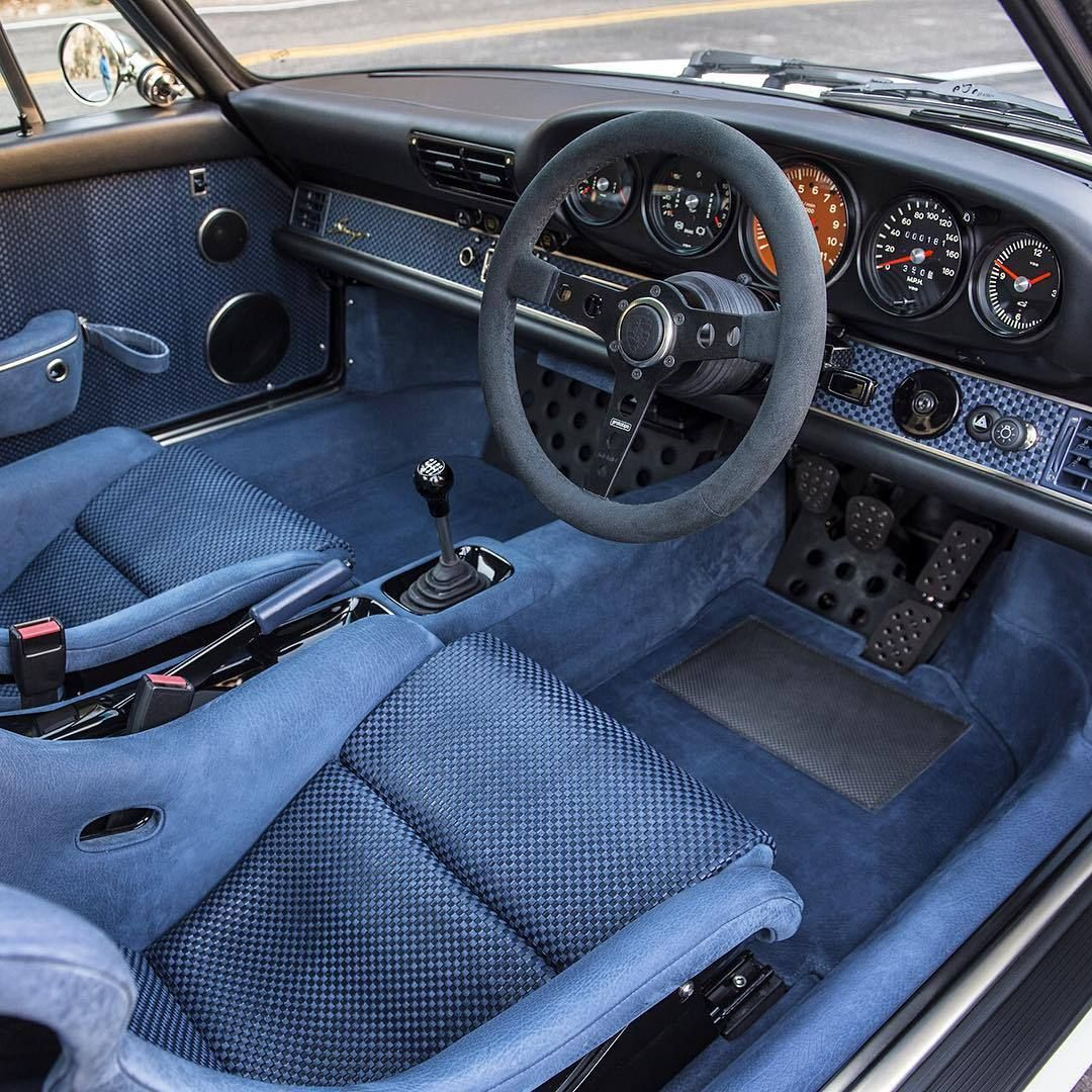 Blue Interior Of A Singer Porsche Via Singer Vehicle Design