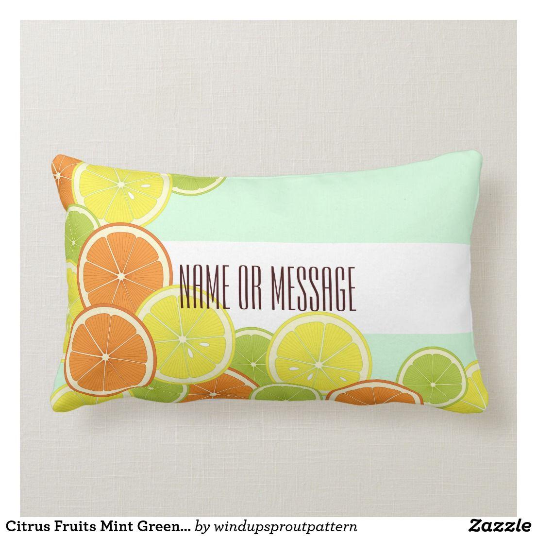 Personalized Modern Mint Green Citrus Fruits Lumbar Pillow Zazzle Com Citrus Fruit Fruit Design Citrus