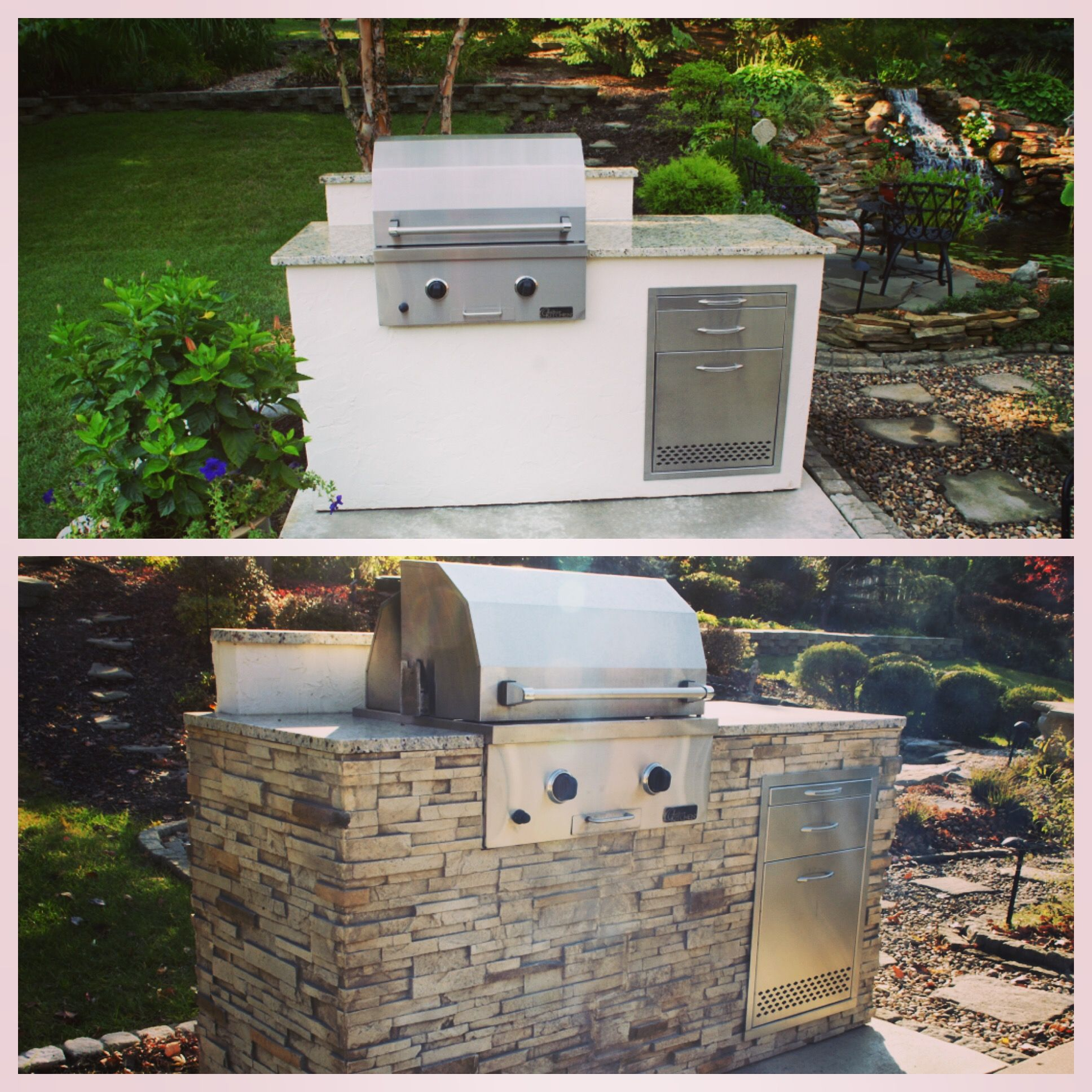 Outdoor Kitchen Stacked Stone: Before And After, Grill, Stacked Stone, DIY, Easy