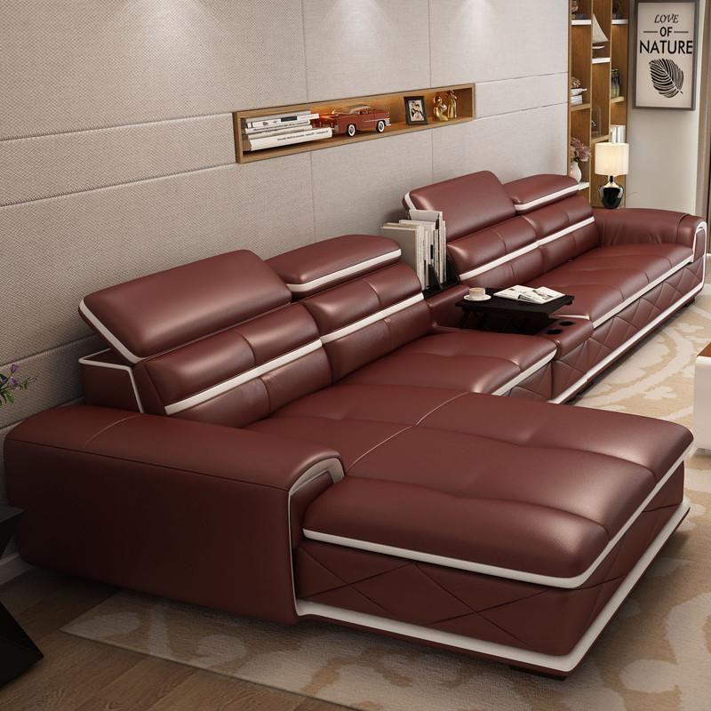 Best Living Room Furniture Corner Leather Sofa White 400 x 300
