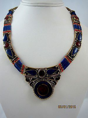 Ethnic Tibet Blue Lapis Red Carnelian Necklace