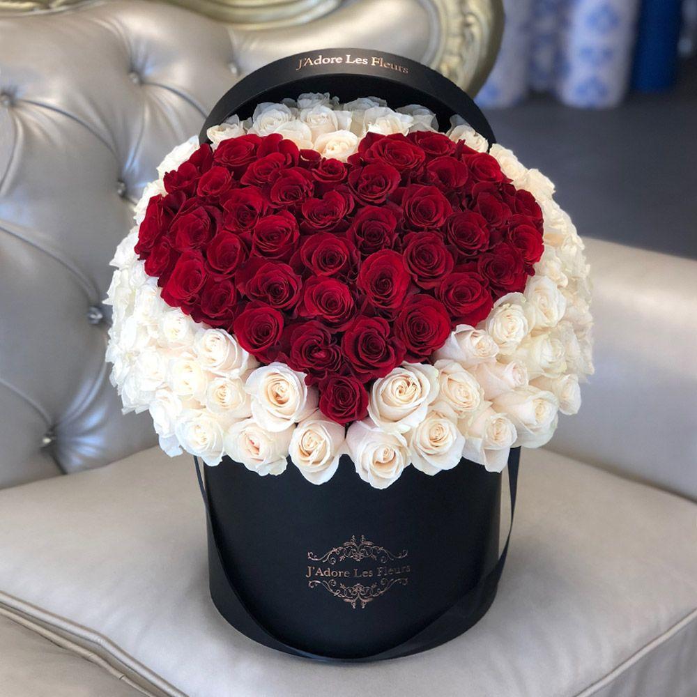 Signature 100 Red Heart Rose Box JLF Fresh Roses in Los
