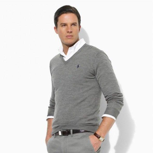 Ralph Lauren Men\u0027s V-Neck Mesh Sweater Polo Gray http://www.