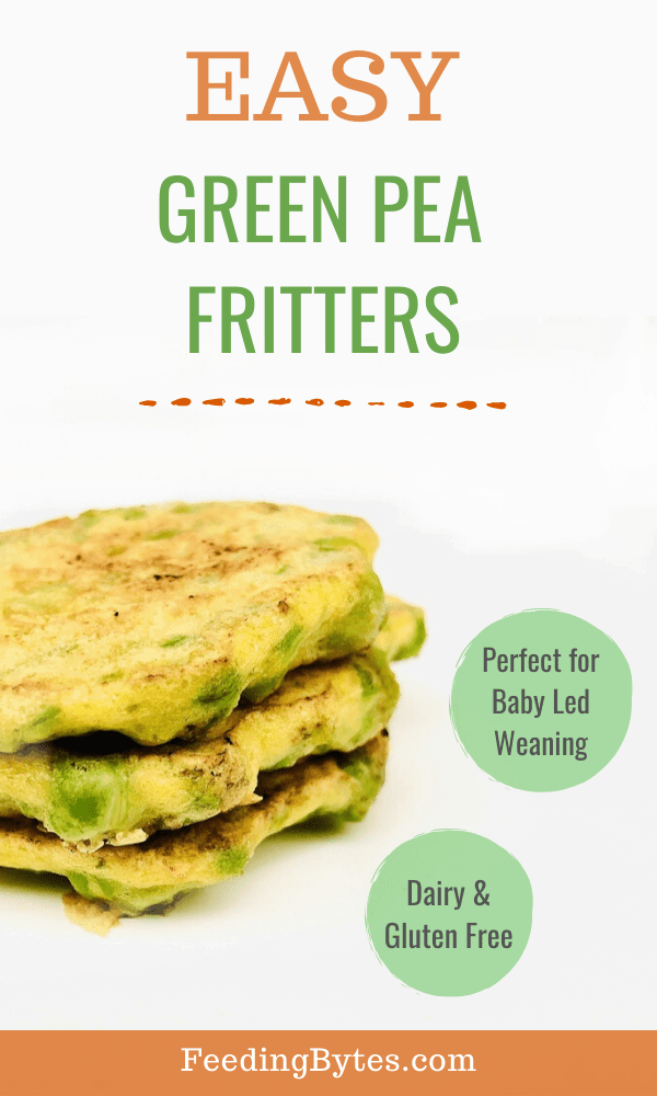 Easy Green pea fritters baby finger food recipe - this recipe is suitable for babies from 6 months and is a perfect baby led weaning finger food idea. With only 3 ingredients, it's dairy and gluten free. - Feeding Bytes #peafritters #babyfingerfoodrecipes #babyledweaningrecipes #babyfingerfood #startingsolids
