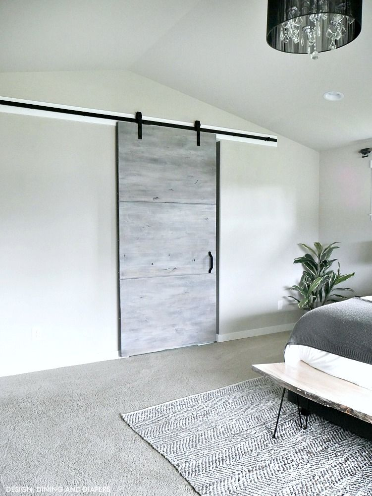 Modern Gray Barn Door Reveal Taryn Whiteaker Gray Bedroom Interior Barn Doors Barn Door
