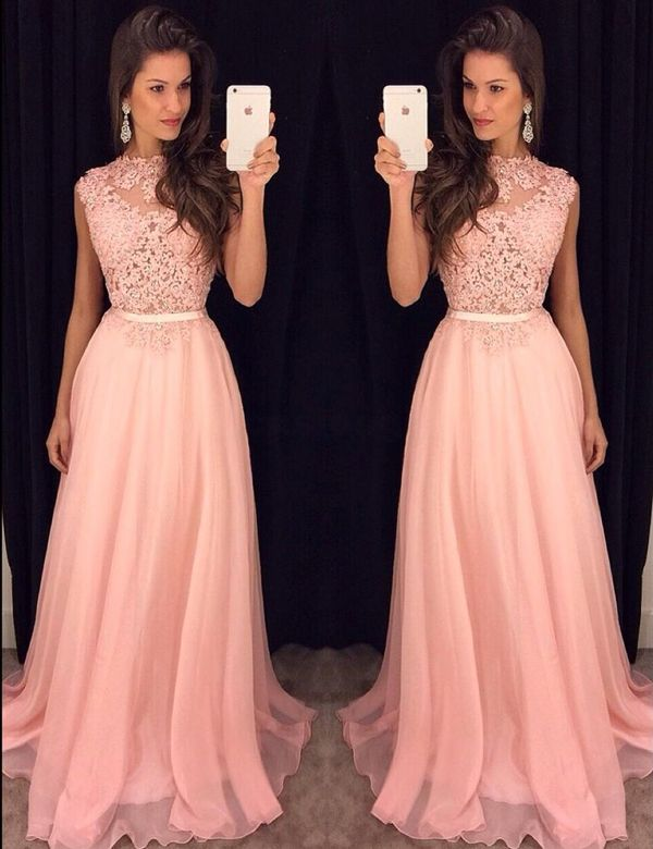 A-line Lace Appliqued Bodice Chiffon Skirt Pink Prom Dress sold by  DiyDresses. Shop more products from DiyDresses on Storenvy 9347c8edf853