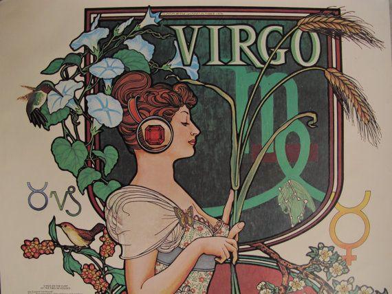 Vintage Virgo Poster 70s Horoscope Vintage Zodiac Art by