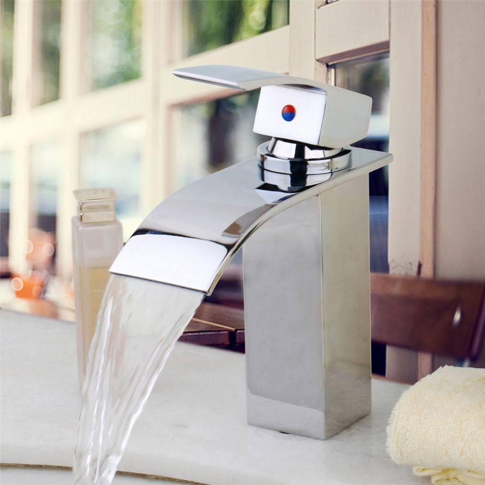Brass Chrome Bathroom Sink Faucet Single Hole Water Tap Waterfall ...