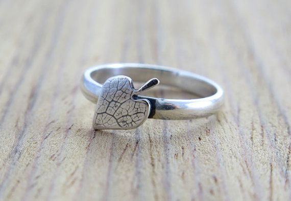 Handcrafted Sterling Silver Art Ring/ Leaf with Leaf by Voochee