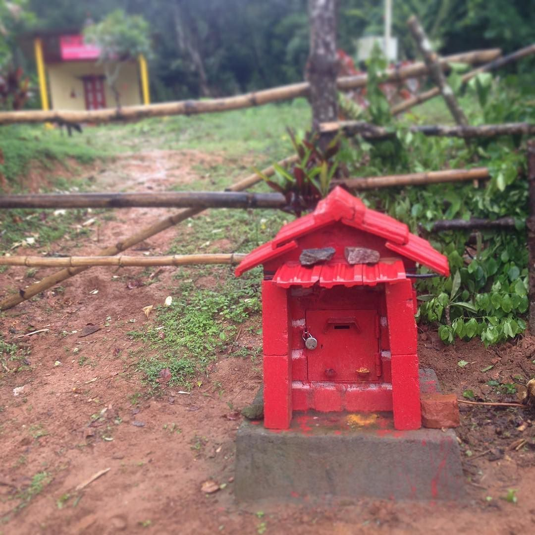 This Lovely Rural Red Postbox Caught Our Eye On Our Last Trip To Coorg Have You Come Across Any Interesting Way Traveling By Yourself Bird House Outdoor Decor