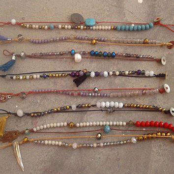 Cord Friendship Bracelets with Charms, Bohemian Princess Selection