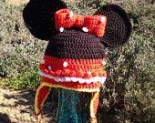 Minnie Crochet  Beanie with Ear flaps
